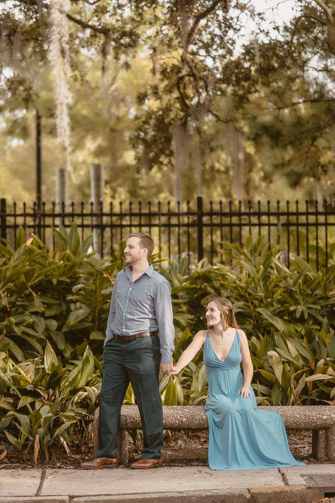 engagement couple at city park
