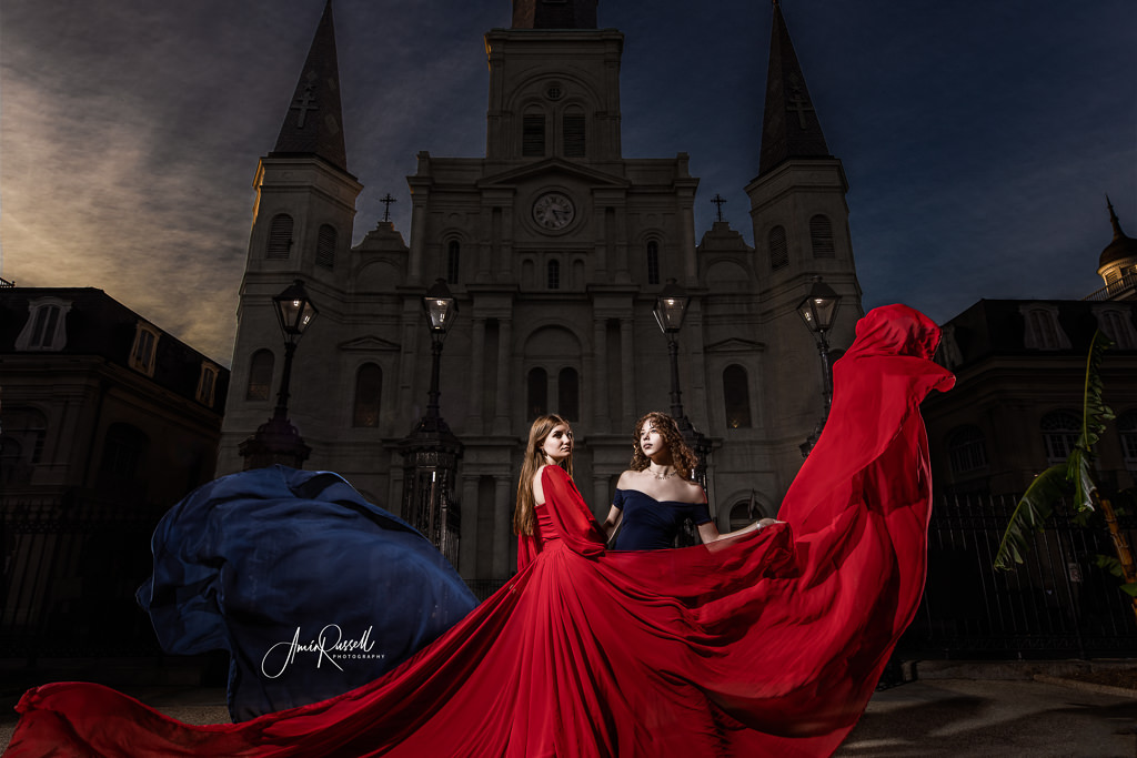 Dramatic portrait in front of the St Louis Cathedral