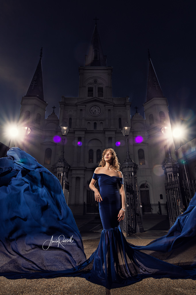 Dramatic portrait in front of St Louis Cathedral