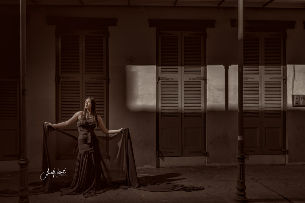 Dramatic portrait taken in the French Quarter